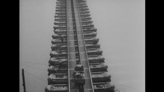 us forces cross the rhine on a pontoon bridge - pontoon bridge stock videos and b-roll footage