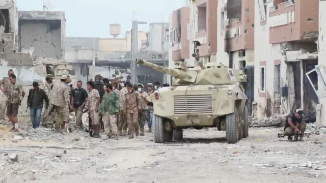 Forces linked to Government of National Accord attack Daesh positions during the operation ''Al Bunyan Al Marsous'' at the city of Sirte Libya on...