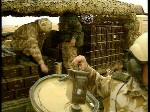 US / UK forces preparations for war c SAUDI ARABIA MS Three British Scorpion tanks along towards past MS Ditto BV Scorpion tanks away CMS Crew...