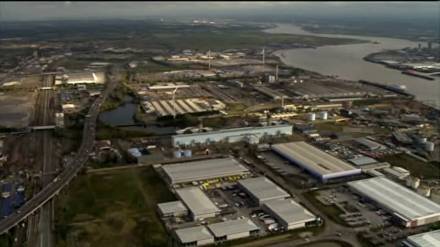 ford announces factory closures in dagenham and southampton air view of ford car plant of ford 'dagenham stamping operations' factory building pull... - dagenham stock videos & royalty-free footage