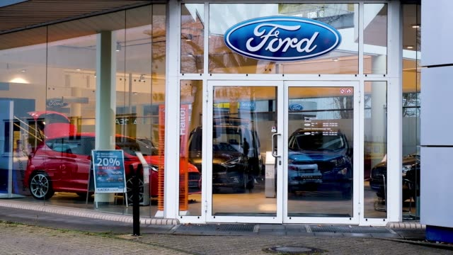 ford car dealership on january 11 2019 in berlin germany ford recently announced that it will shed thousands of jobs in europe - ford motor company stock videos & royalty-free footage