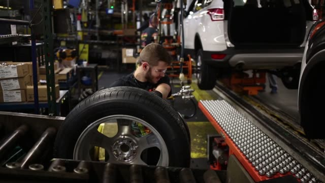 ford escape sports utility vehicles are assembled at the ford motor co louisville assembly plant in louisville kentucky us on tuesday april 28 2015... - utility room stock videos and b-roll footage