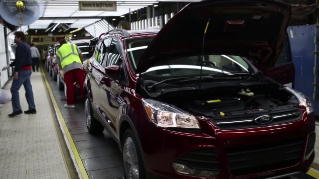 Ford Escape sports utility vehicles are assembled at the Ford Motor Co Louisville Assembly Plant in Louisville Kentucky US on Tuesday April 28 2015...