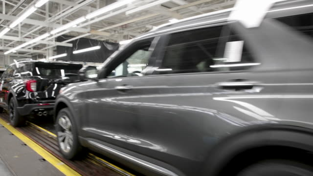 ford explorers gets a final inspection as they roll off the assembly line at the chicago assembly plant on june 24 2019 in chicago illinois ford... - ford motor company stock videos & royalty-free footage