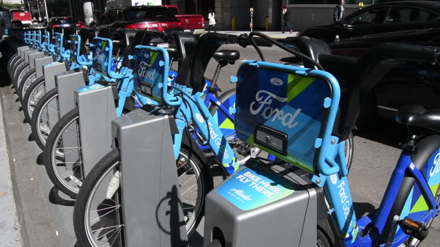 ford gobike in san francisco california us on monday june 11 2018 - bicycle parking station stock videos and b-roll footage