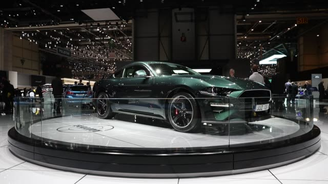 ford motor co mustang bullitt sports vehicle on display at the 88th geneva international motor show in geneva switzerland on wednesday march 7 the... - ford mustang stock videos and b-roll footage