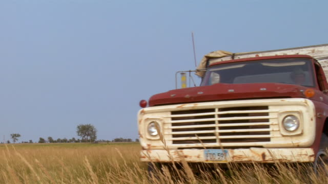 a ford pickup drives through a golden field. - ford truck stock videos and b-roll footage