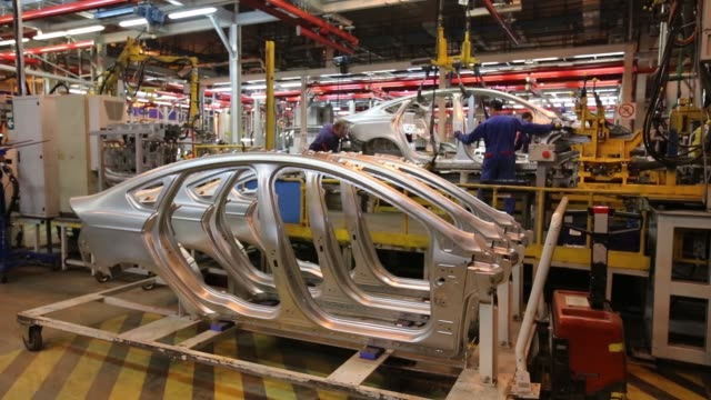 Ford Sollers assembly plant a joint venture between Ford Motor Co and OAO Sollers in Vsevolozhsk Russia on Thursday April 9 2015 SHOTS gvs of the...