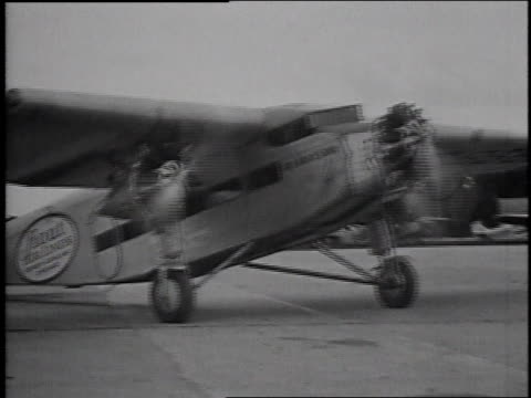 1929 montage ford tri-motor airplane taking off / united states - ford motor company stock videos and b-roll footage