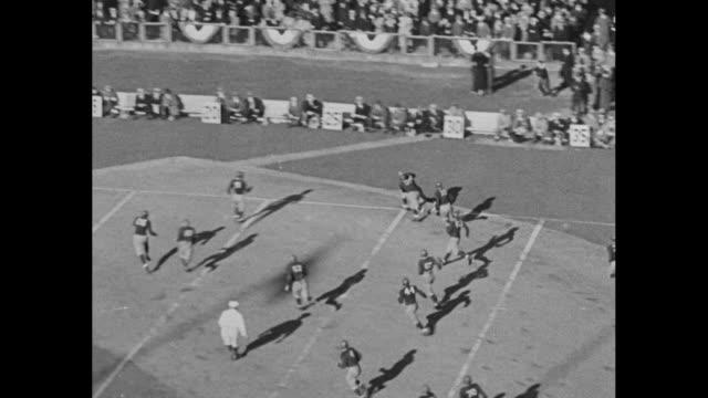 fordham rams v. saint mary's gaels game action / saint mary's player long run downfield / spectators in stands / another saint mary's run / fordham... - インターセプト点の映像素材/bロール