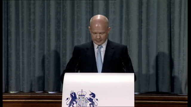 Hague gives first of four policy speeches ENGLAND London Foreign and Commonwealth Office Locarno Room INT William Hague MP to podium and speech SOT...