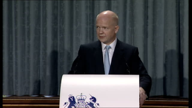 hague gives first of four policy speeches these four factors alone would call for a british foreign policy that is more active and that looks further... - united states congress点の映像素材/bロール