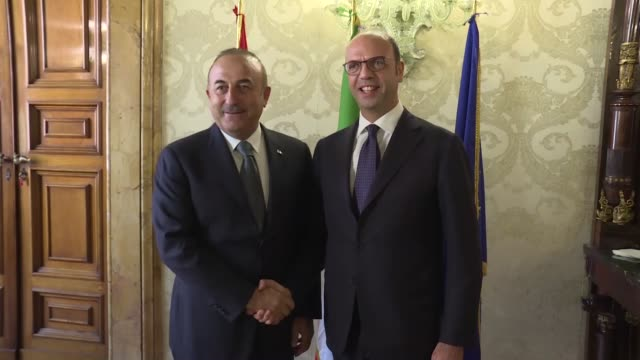 Foreign Affairs Minister of Turkey Mevlut Cavusoglu meets his Italian counterpart Angelino Alfano at UniCredit Headquarters where the 10th...
