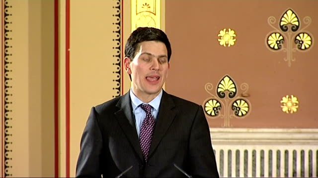 foreign and commonwealth office human rights report launch; david miliband mp speech sot - i want to use this speech to set out how concern for human... - weapons of mass destruction stock videos & royalty-free footage