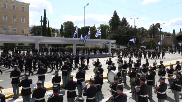 foreign dignitaries attend a military parade on syntagma square in athens as greece celebrates 200 years since the start of its independence war with... - athens greece stock videos & royalty-free footage