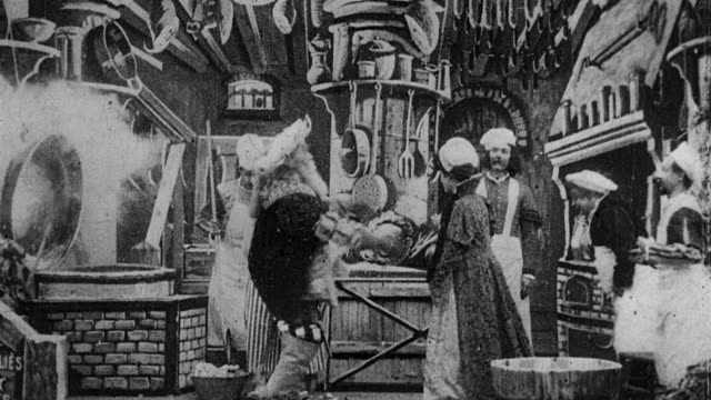 1901 B/W Foreign dignitary parading new wife and food for banquet through kitchen