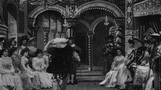 1901 B/W Foreign dignitary presenting gifts as a dowry and wooing a reluctant wife in an imperial court