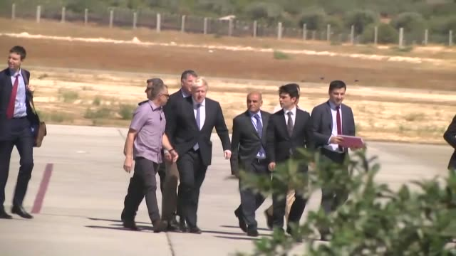 Foreign Minister Boris Johnson arrives at Gaziantep Airport to pay a visit to the Nizip container city housing Syrian refugees on September 26 2016