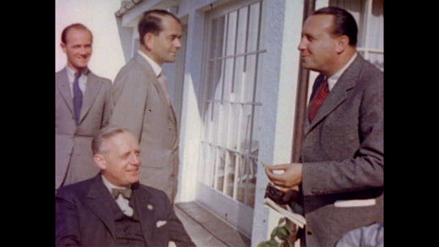foreign minister joachim von ribbentrop, nazi official, german diplomat walther hewel, max amann and others on the berghof terrace / adolf hitler... - adolf hitler stock videos & royalty-free footage