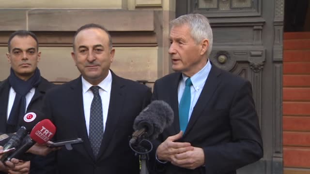 Foreign Minister of Turkey Mevlut Cavusoglu and Secretary General of the Council of Europe Thorbjorn Jagland speaks to journlists after their meeting...