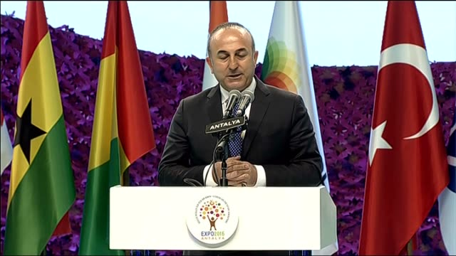 foreign minister of turkey mevlut cavusoglu speaks during the opening ceremony of expo 2016 antalya in antalya, turkey on april 22, 2016. - aprile video stock e b–roll