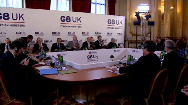 G8 Foreign Ministers' Meeting discusses Syria conflict and North Korea nuclear crisis ENGLAND London Lancaster House INT William Hague MP giving...