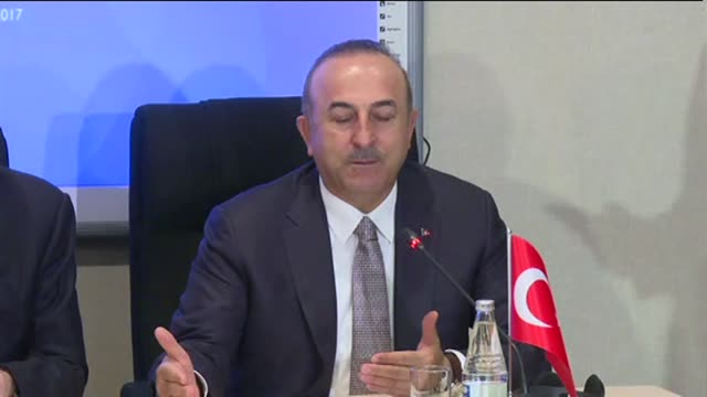 Foreign Ministers Mevlut Cavusoglu of Turkey Elmar Mammadyarov of Azerbaijan and Javad Zarif of Iran hold a joint press conference after 5th...