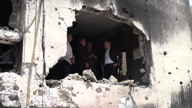 foreign ministers of israel, germany, slovakia and czech republic tour a building that was hit by a rocket fired by palestinian militants from the... - czech republic stock videos & royalty-free footage