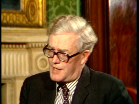 foreign office attempt to reorganise visit to saudi arabia after it was cancelled by the saudis; england: london: int douglas hurd mp interview sot... - douglas hurd stock-videos und b-roll-filmmaterial