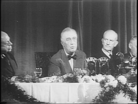 foreign policy association dinner / roosevelt speaks / addressing a room full of people in formal dress / speaks about allies and german conspirators - audio electronics stock videos & royalty-free footage