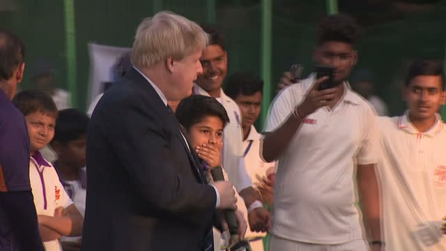 foreign secretary and former mayor of london boris johnson is in india. he paid a visit to former cricketer arun lal bournvita cricket academy in... - kolkata stock videos & royalty-free footage