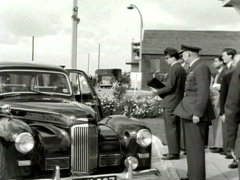 foreign secretary anthony eden and his wife arrive at london airport 1954 - clarissa eden stock videos and b-roll footage
