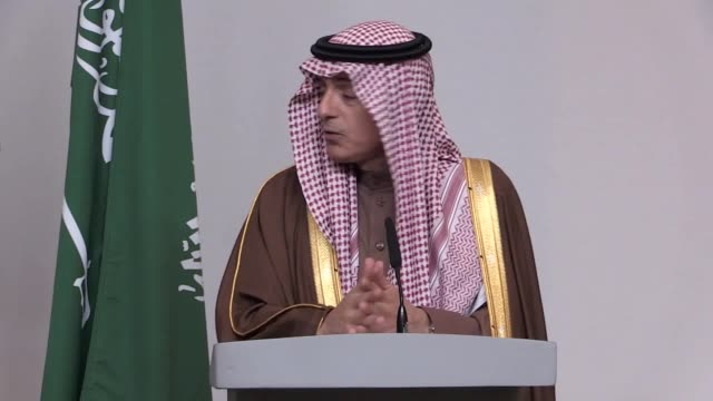 Foreign Secretary Boris Johnson speaks alongside his Saudi counterpart Adel alJubeir in the Foreign Office They spoke about trade Brexit the conflict...