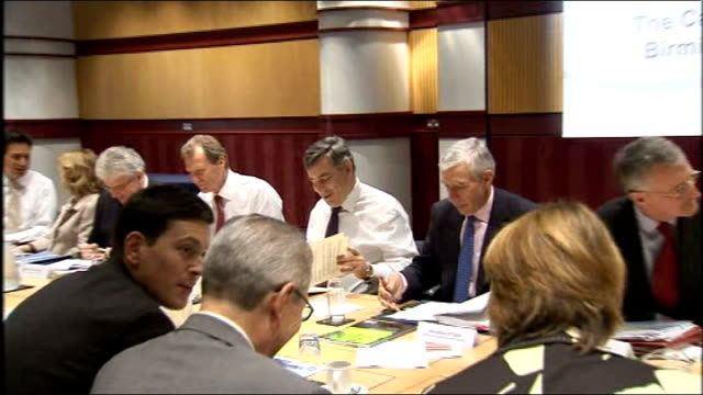 stockvideo's en b-roll-footage met foreign secretary david miliband rejects calls for leadership challenge lib birmingham international convention centre int gordon brown mp at cabinet... - number 9