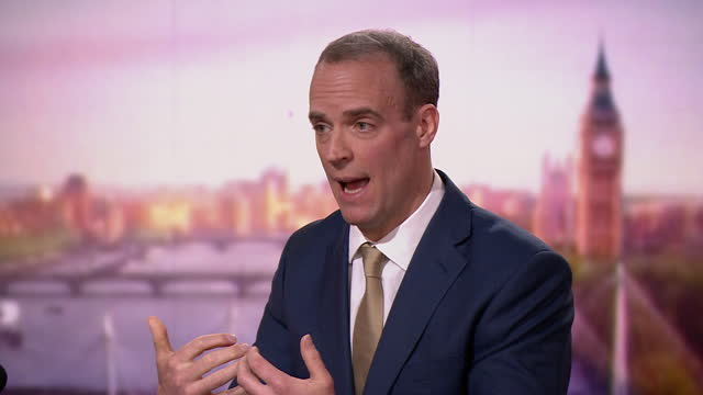 """foreign secretary dominic raab saying the eu has taken an """"absurd"""" stance in brexit negotiations - surreal stock videos & royalty-free footage"""