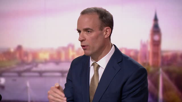 """foreign secretary dominic raab saying """"we need finality"""" in brexit negotiations - the end stock videos & royalty-free footage"""