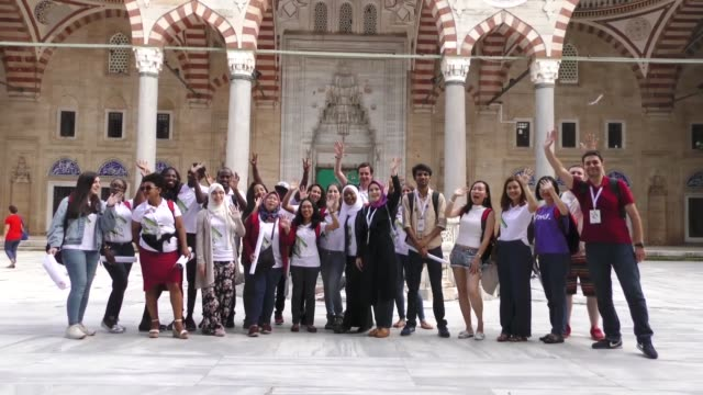 Foreign students attend summer school programme in Istanbul Turkey on August 01 2018 This summer nearly 1000 foreign students from 118 countries are...