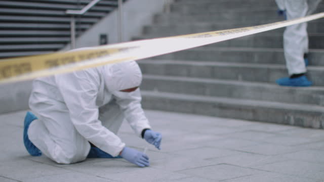 forensic science team working on police investigation site - detective stock videos & royalty-free footage