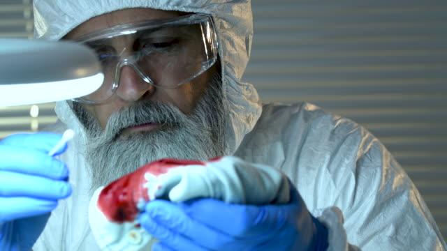 stockvideo's en b-roll-footage met forensisch wetenschapper werkzaam in laboratorium - lijkschouwer