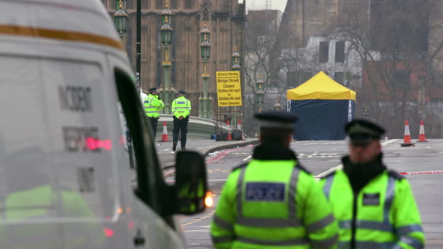 forensic team on westminster bridge the morning after terror attack; westminster, london - terrorism stock videos & royalty-free footage