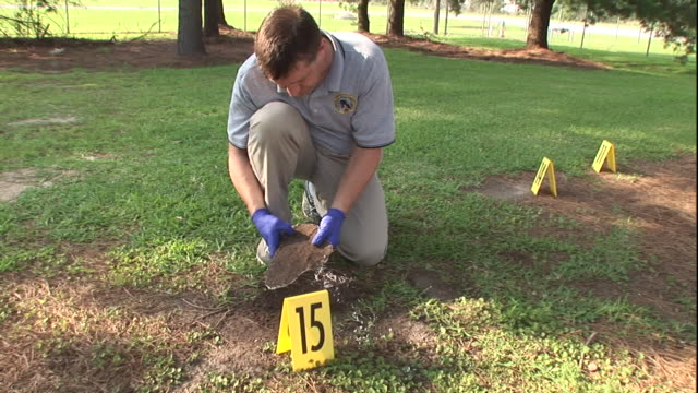 a forensic technician examines a plaster cast next to a number marker. - forensic science stock videos & royalty-free footage