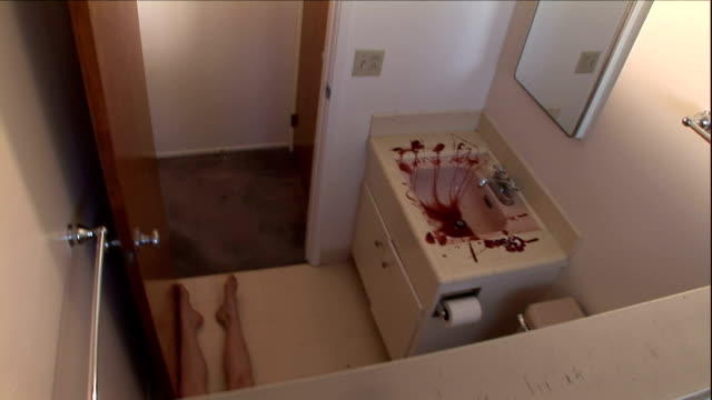 a forensics investigator gathers evidence in a blood-stained bathroom. - mord stock-videos und b-roll-filmmaterial