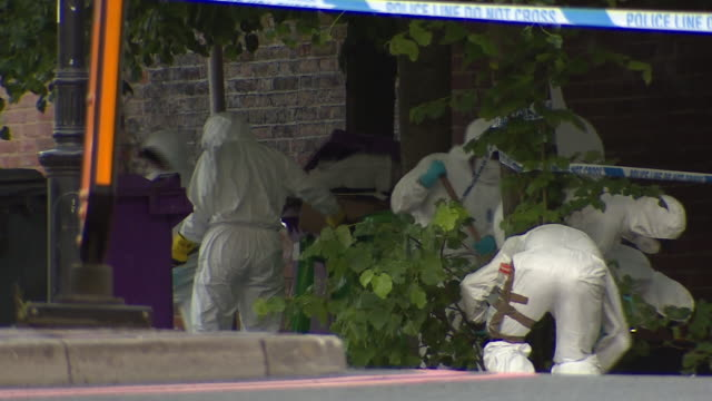 forensics officers searching for evidence at forbury gardens in reading after a deadly stabbing terrorist attack - crime and murder stock videos & royalty-free footage