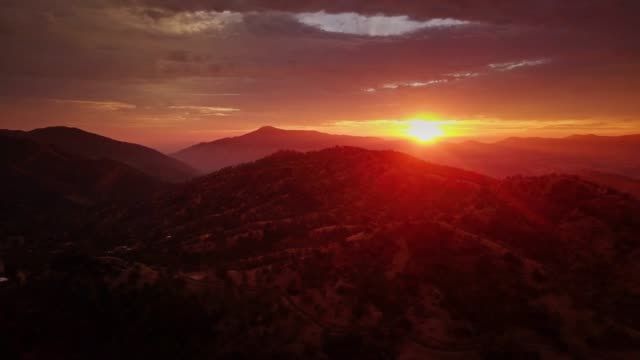 forest covered mountains at sunset - aerial shot - sequoia stock videos & royalty-free footage
