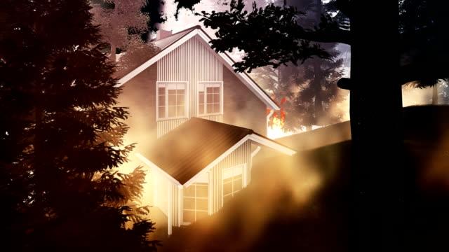 vídeos de stock, filmes e b-roll de floresta fogo circundante casa americana - rodeando