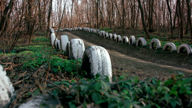 Forest footpath marked with old painted car tires