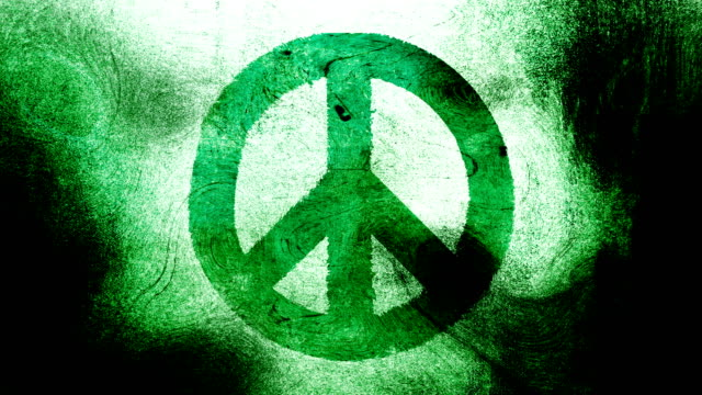 Forest Green, peace symbol on a high contrasted grungy and dirty, animated, distressed and smudged 4k video background with swirls and frame by frame motion feel with street style for the concepts of peace, world peace, no war, protest, and tranquility