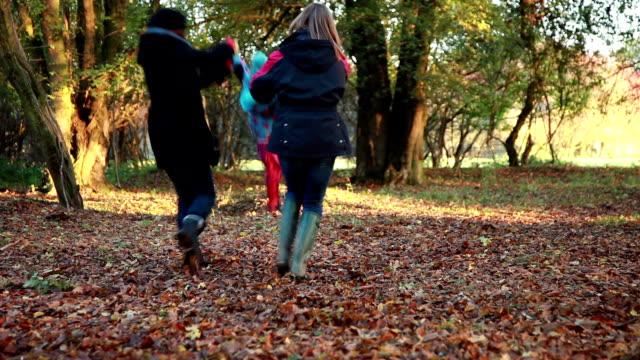 forest walk. - gemeinsam gehen stock-videos und b-roll-filmmaterial