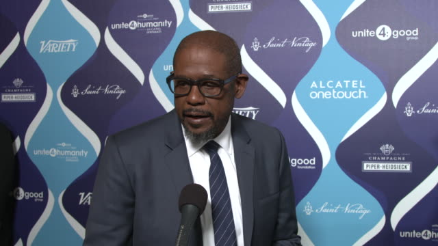 interview forest whitaker on being a part of the night why he thinks the entertainment industry can have an impact in changing perceptions for the... - オスカーパーティー点の映像素材/bロール