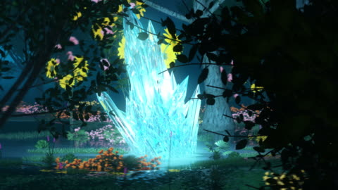 forest wonderland animation. surrounding glowing crystal - fantasy stock videos & royalty-free footage